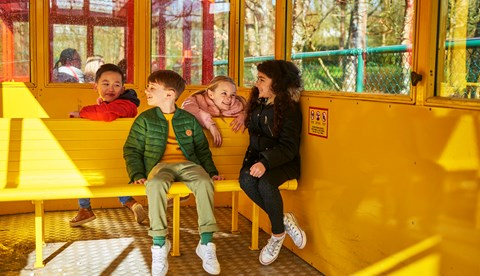 Kids Laughing On Hill Train